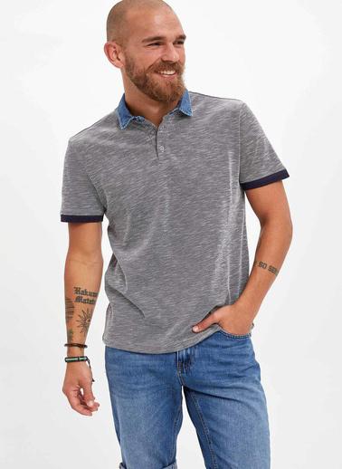 DeFacto Jean Yakalı Slim Fit Polo T-Shirt Lacivert
